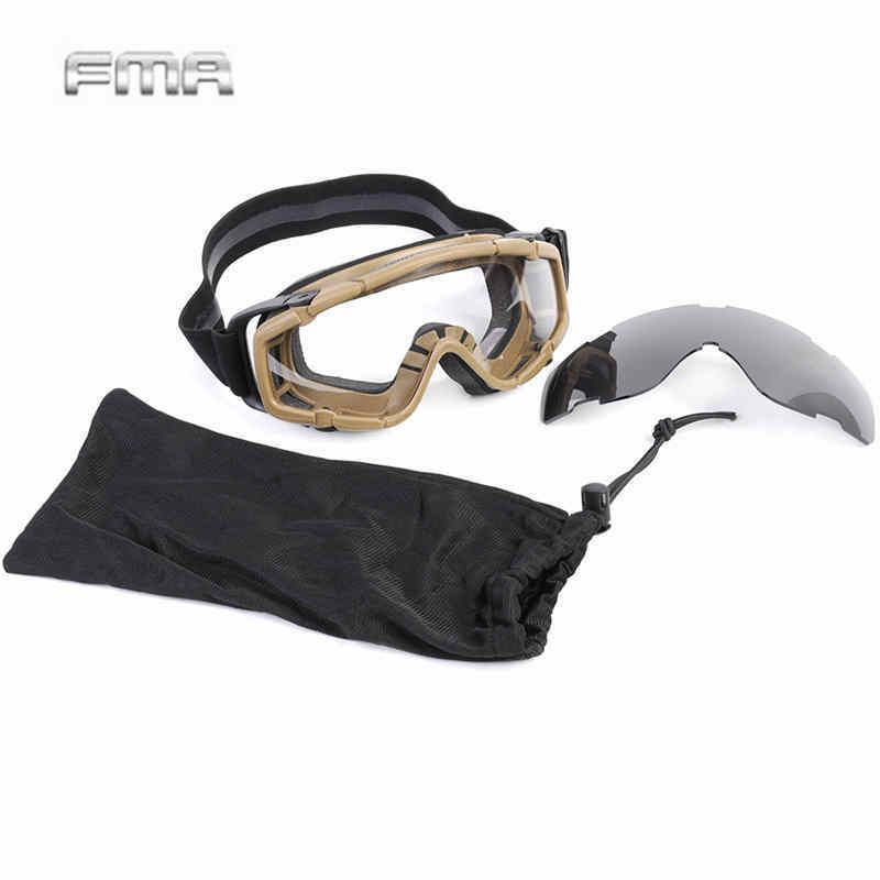 fma brand ok google glasses with 2pcs of lens airsoft tactical army