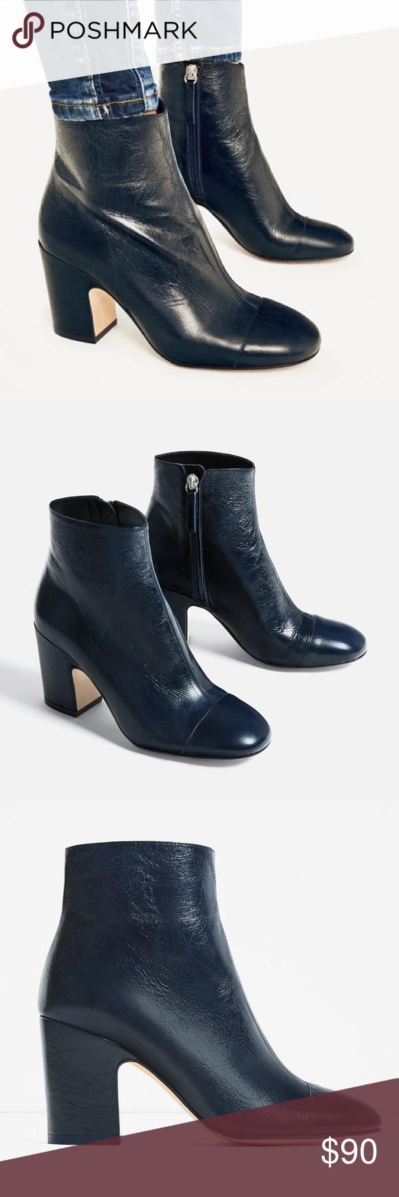 stylish design great deals enjoy big discount ZARA Navy Blue Leather High Heel Ankle Boots Zara dark navy ...