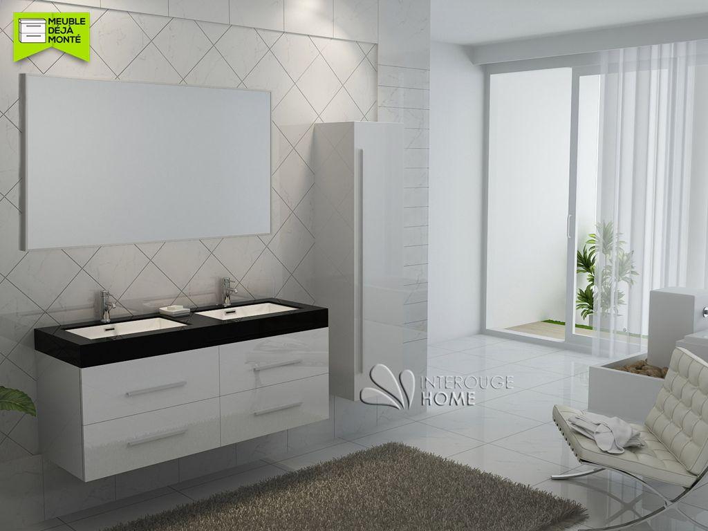 Meuble Salle De Bain Double Vasque Effet Beton ~ meuble de salle de bain en bois avec double vasques coloris blanc