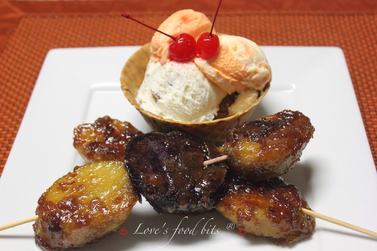 Love's Food Bits: Kamote Cue / Sweet Potato Fritters