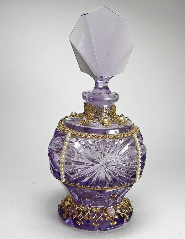 Czech Jeweled Perfume Bottle Amethyst by TheSnow | Jeweled