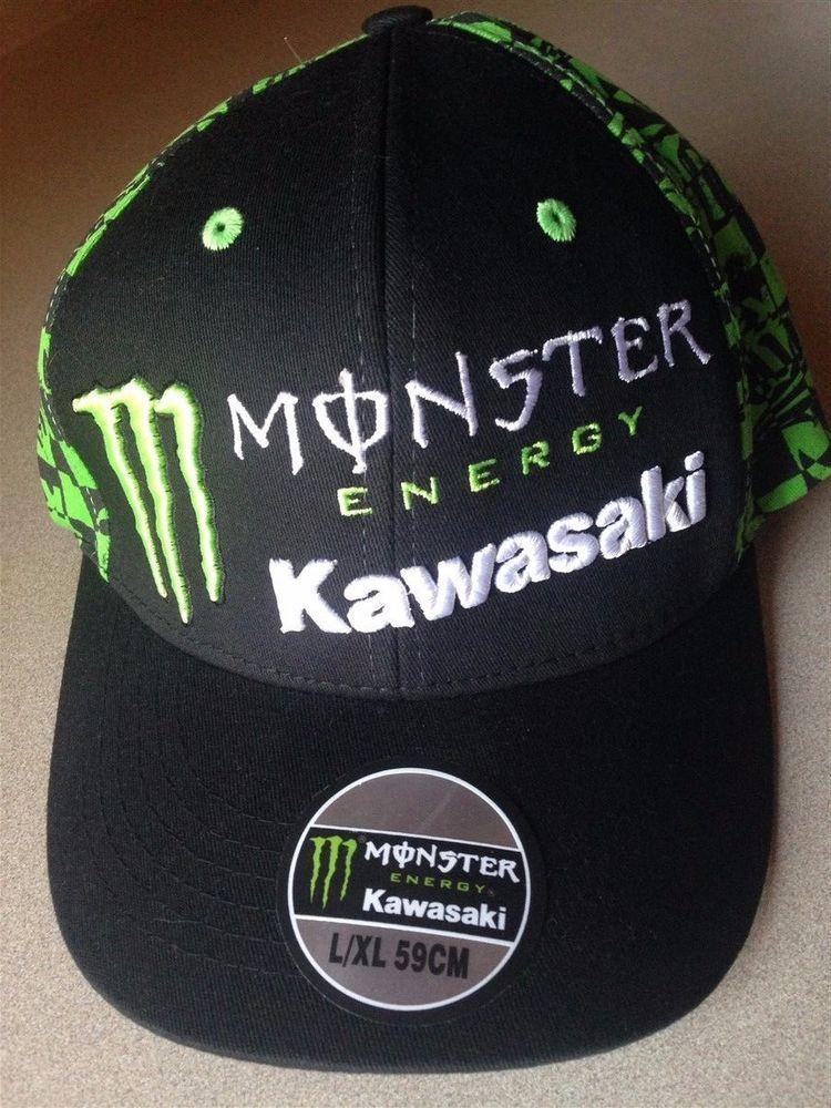 9b5e08181f18b Kawasaki Monster Energy Fitted Baseball Cap Hat Black L   XL 59CM  Kawasaki