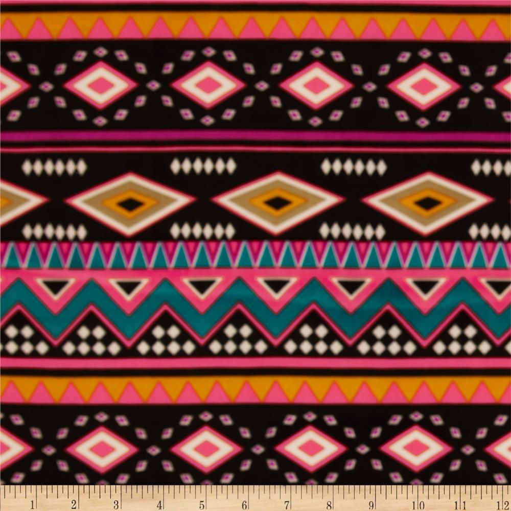 Aztec Stretch ITY Jersey Knit Black Multi from @fabricdotcom  This silky, stretchy knit fabric is perfect for creating stylish tops, skirts and dresses, especially wrap dresses, tops, dancewear and much more! It is also great for travel since it does not wrinkle easily. This lightweight ITY jersey knit has a smooth hand, fluid drape and four way stretch- 25% stretch across the grain and 15% vertical stretch.