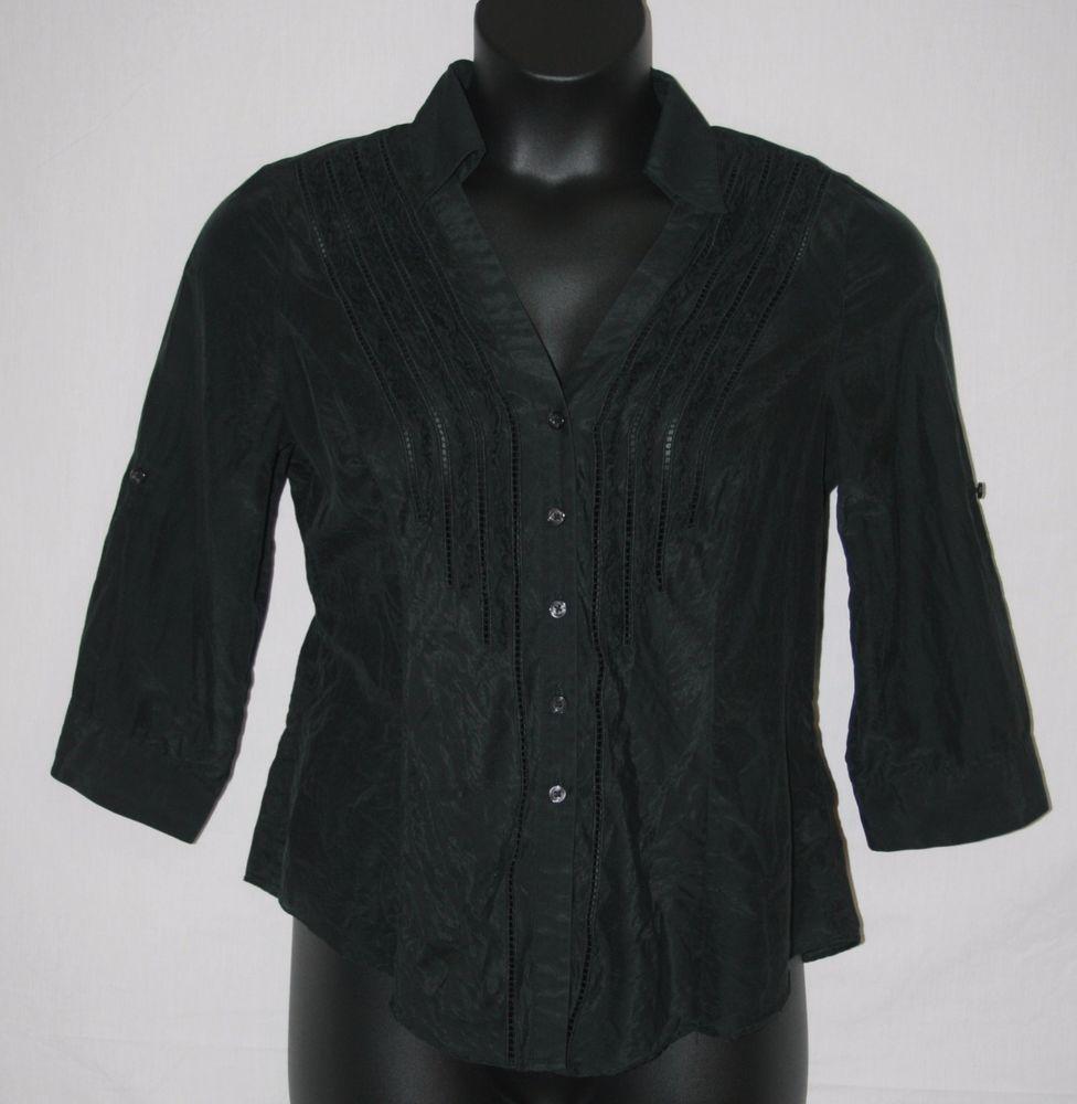 White House Black Market Black Button Down Blouse Size 12 3/4 Sleeve Cotton Silk Women's Fashion