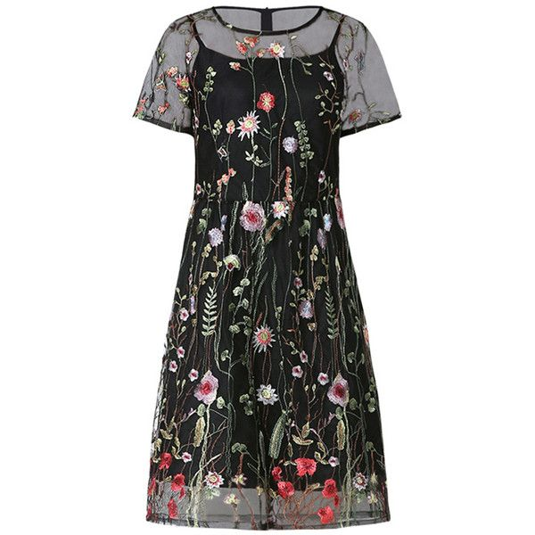 Black Two Piece Floral Embroidered Mini Dress 160 Brl Liked On Polyvore Featuring Dresses Vestid Mini Dress Fashion Clothes Women Flower Embroidered Dress