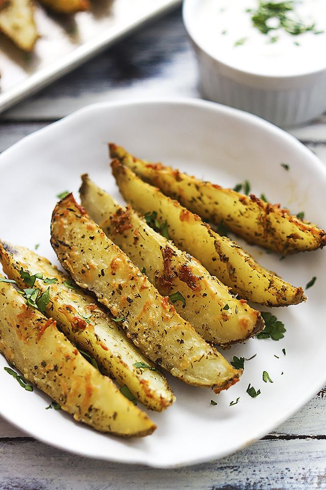 BAKED GARLIC PARMESAN POTATO WEDGES – (Free Recipe below)