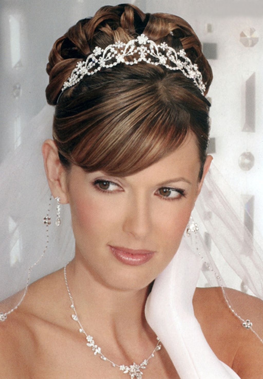 Bridal tiaras and veils - Wedding Hairstyles Updos With Tiara And Veil