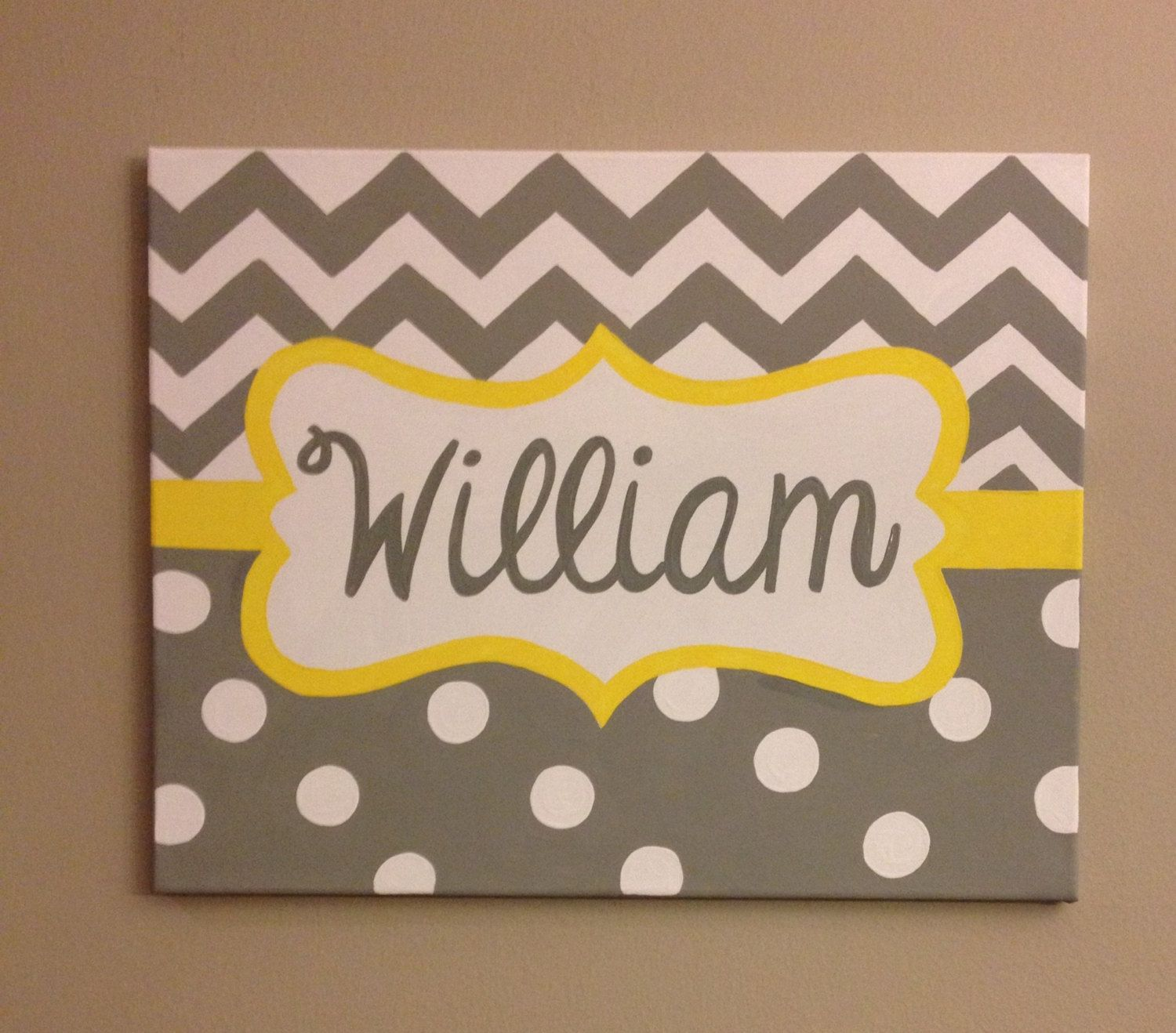 Hand painted name canvas baby boy nursery by