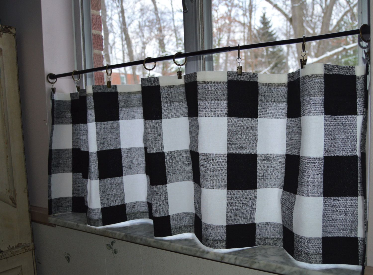 Black and white checked curtains - Cafe Curtains Black And White Buffalo Plaid Premier Prints Black And White Check Custom Sizes By Request By Seamsoriginal