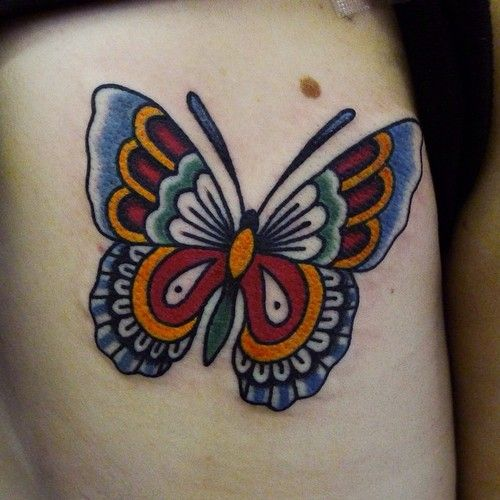 Hannah Clark Traditional Butterfly Tattoo Purple Butterfly Tattoo Butterfly Tattoo