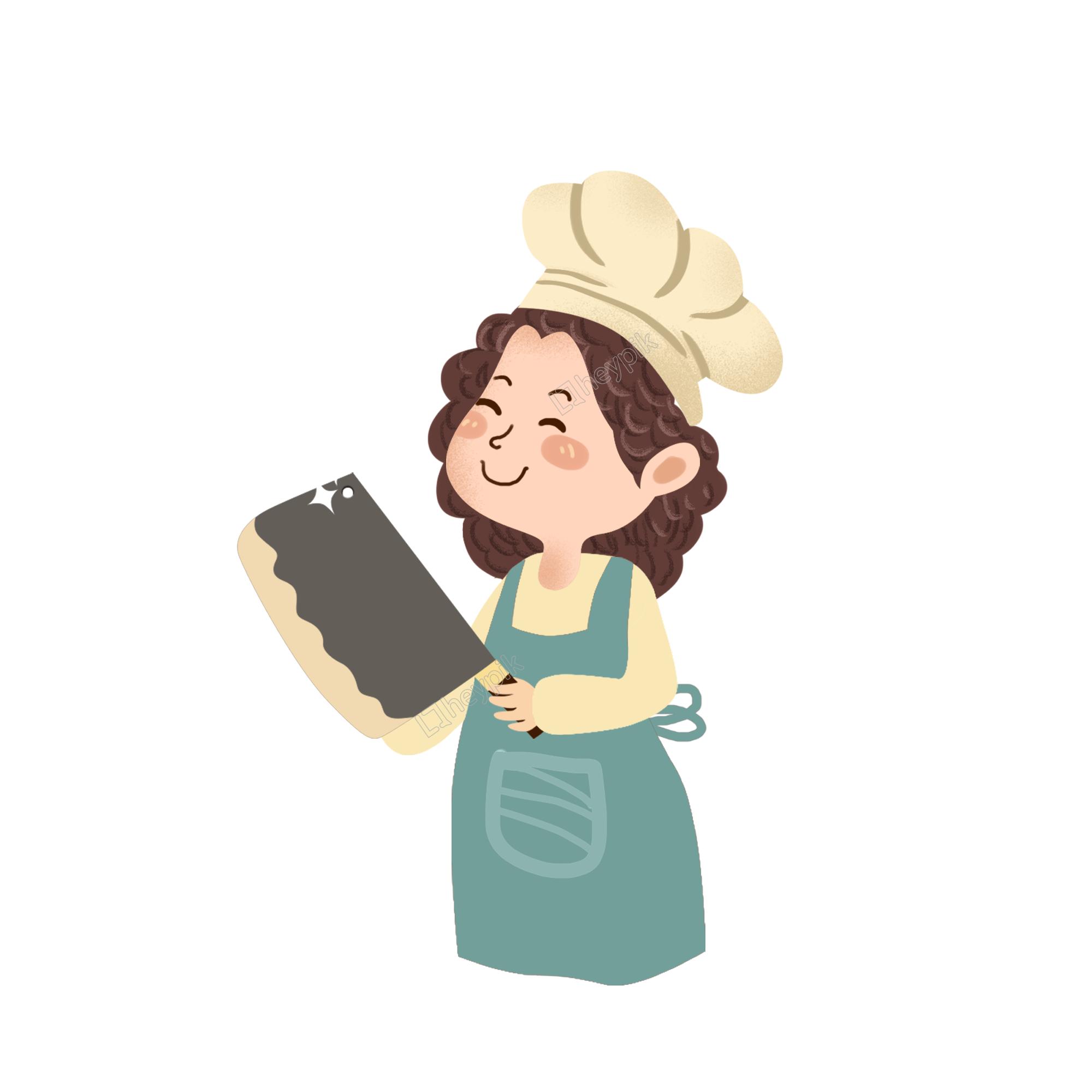 พ่อครัวการ์ตูนหญิงถือมีดครัวขนาดใหญ่ ไฟล์ png และ psd