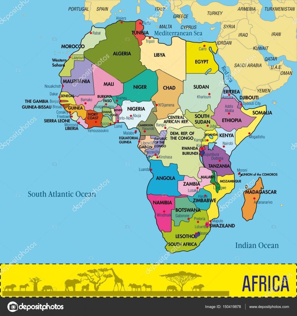 Afryka Mapa Panstwa I Stolice Szukaj W Google Afryka Mapa