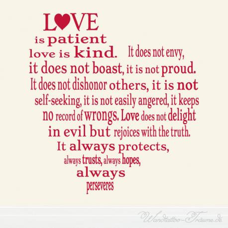 #Wandtattoo #Love is #patient #love is #kind It does not envy it does not boast it is not proud in #Herzform