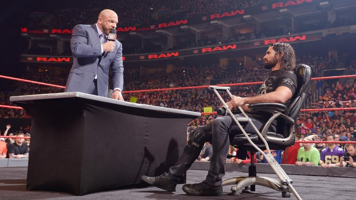 Raw  Seth Rollins Signs Triple HS Hold Harmless Agreement