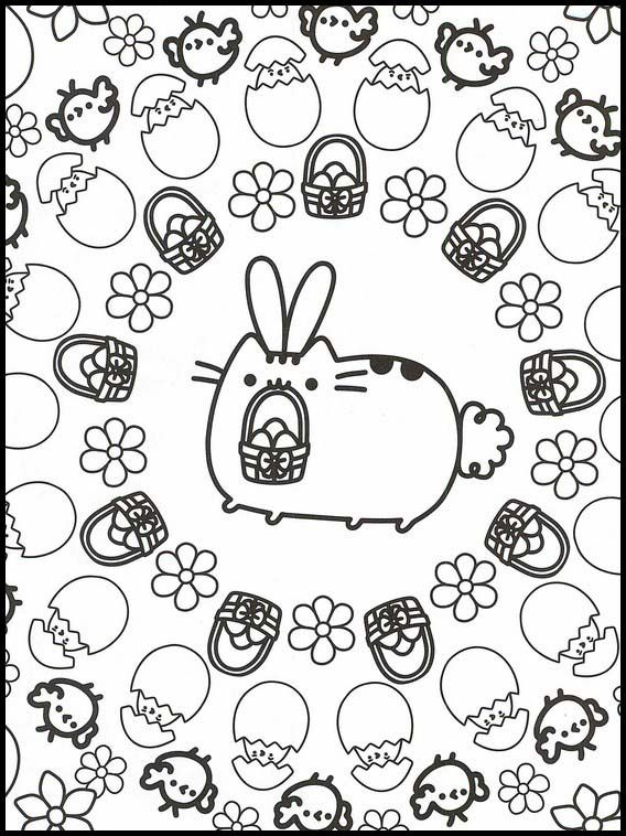 Pusheen 85 Printable Coloring Pages For Kids Pusheen Coloring Pages Easter Coloring Pages Coloring Pages