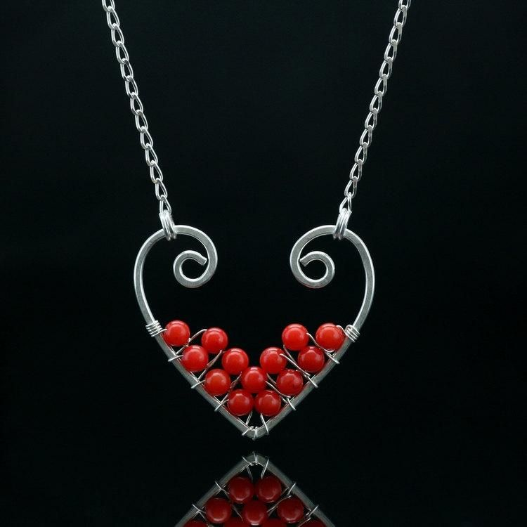 Valentines gift Sterling silver coral heart pendant necklace Free US ...