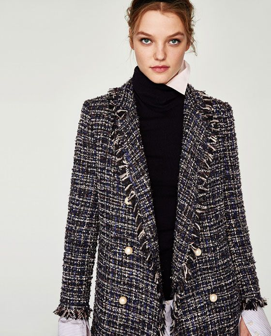 Veste longue style tweed