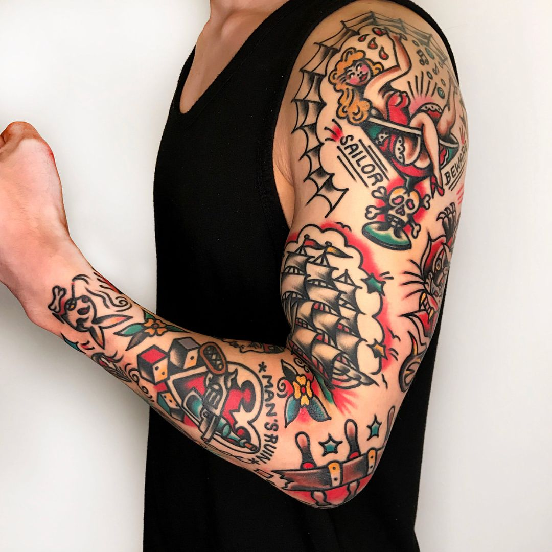 796 Likes 2 Comments American Flash On Instagram By Needles Tattooing Traditional Tattoo Sleeve Traditional Tattoo Sleeve Tattoos