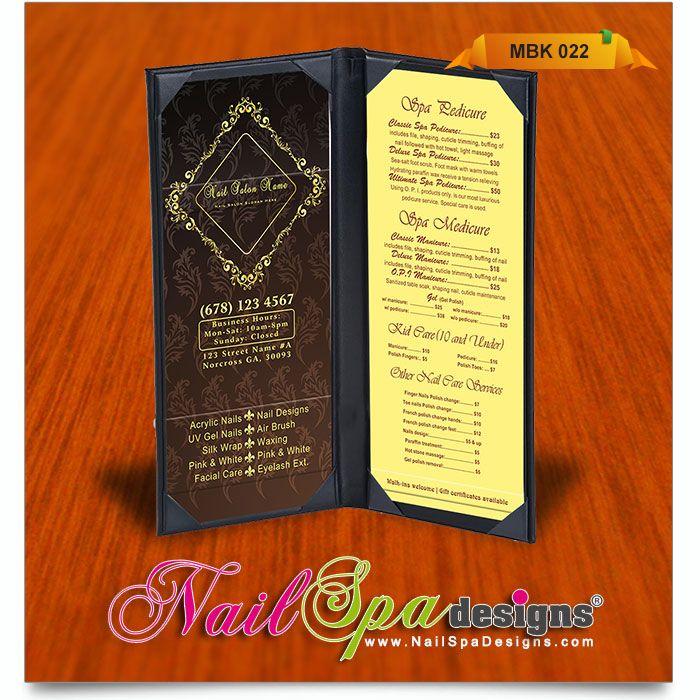 menu book template for nail salon visit www nailspadesigns com