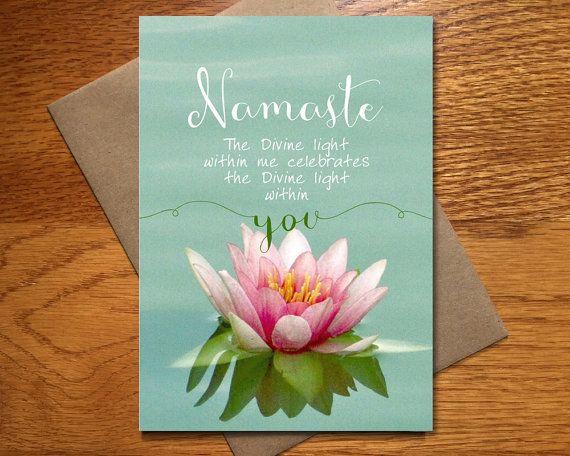 Every Day Spirit Namaste Card Yoga Teacher Card Beautiful Namaste Card Lotus Blossom Card 5x7 Inspirational Quotes Wall Art Namaste Wall Art Quotes