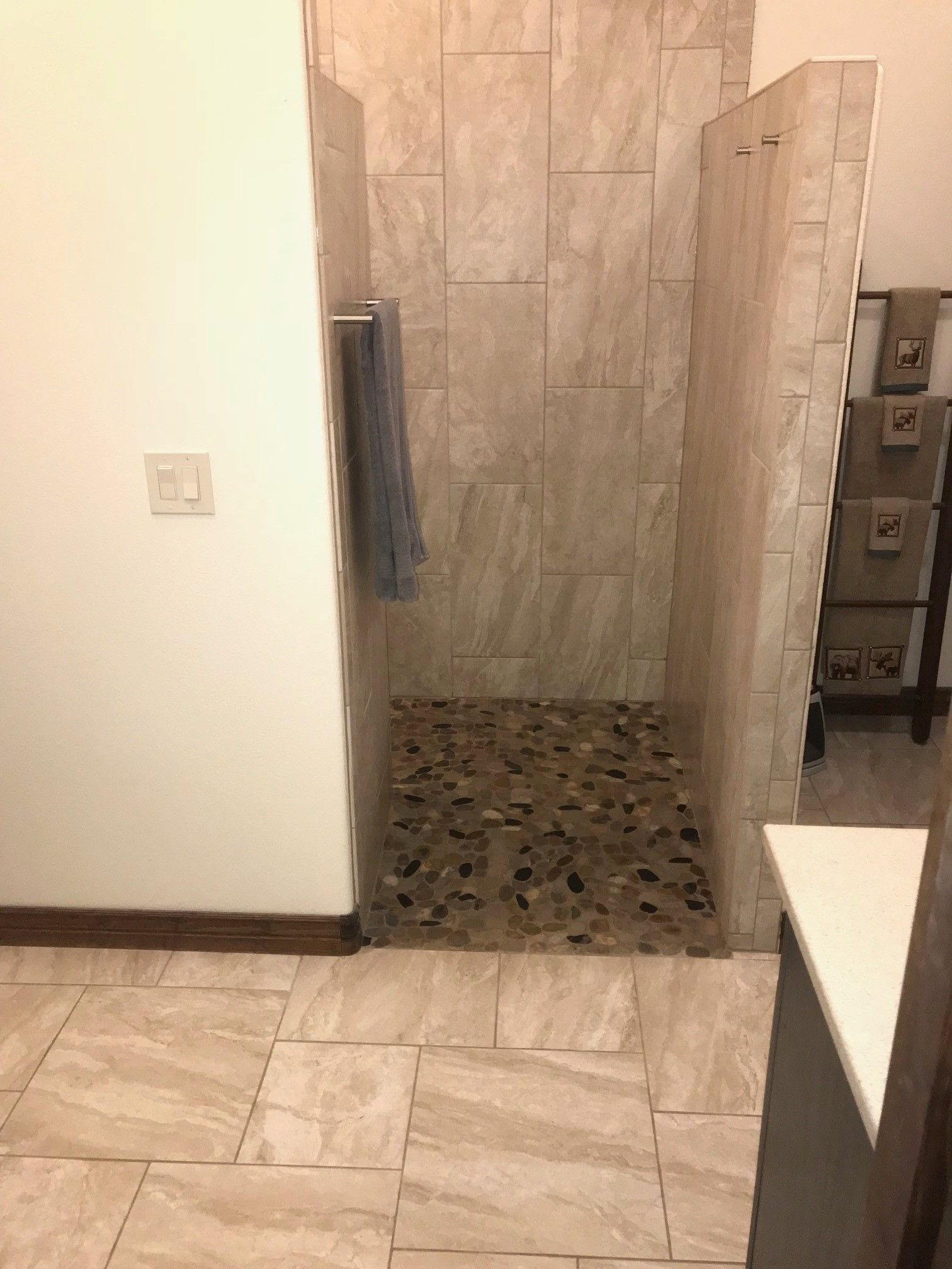 Wall And Bathroom Floor Is Mingle Soft Rock Shower Pan Is Mixed