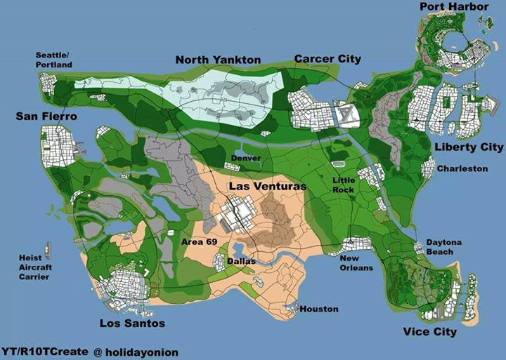 GTA USA Map Video Game Fun Pinterest Gta Videogames and Video