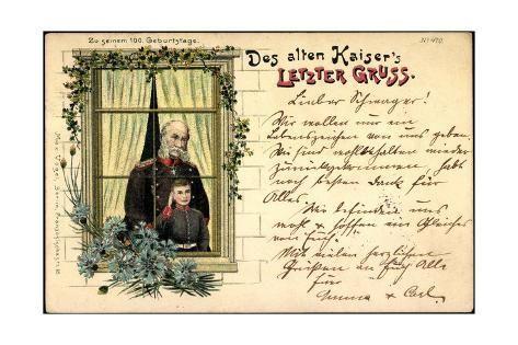 size: 24x16in Giclee Print: Litho Des Alten Kaisers Letzter Gruß,Wilhelm I Mit Sohn :