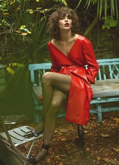 Steffy Argelich flaunts some leg in a red wrap dress for Vogue Paris Magazine March 2016 issue