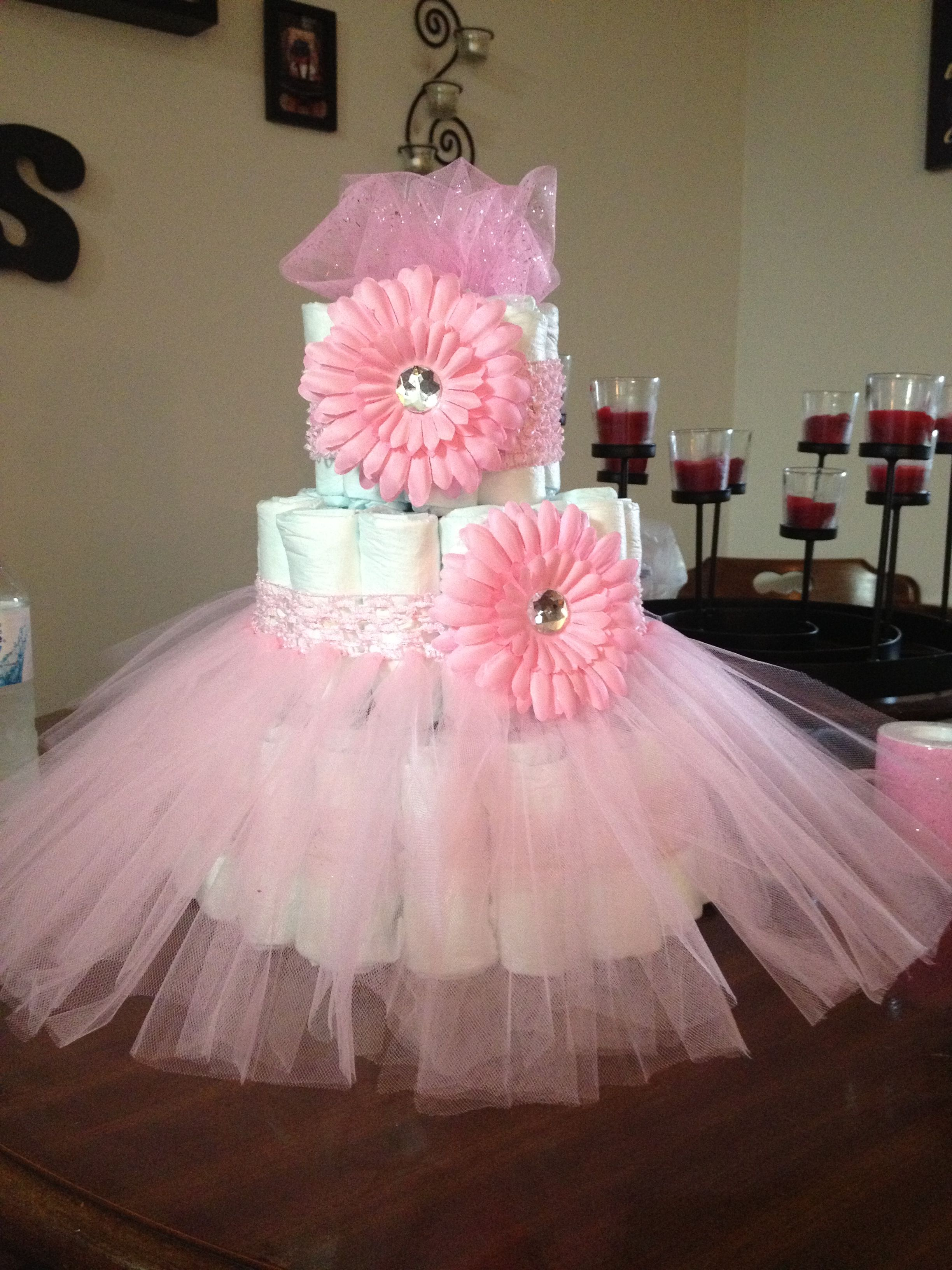 Diaper cake idea for a girl