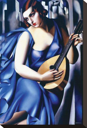 Femme en Bleu Avec Guitare Stretched Canvas Print by Tamara de Lempicka at Art.com