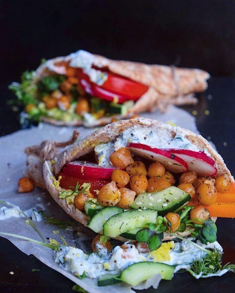 Roasted Chickpea Gyros With Vegan Tzatziki via @feedfeed on https://thefeedfeed.com/foodbymaria/roasted-chickpea-gyros-with-vegan-tzatziki