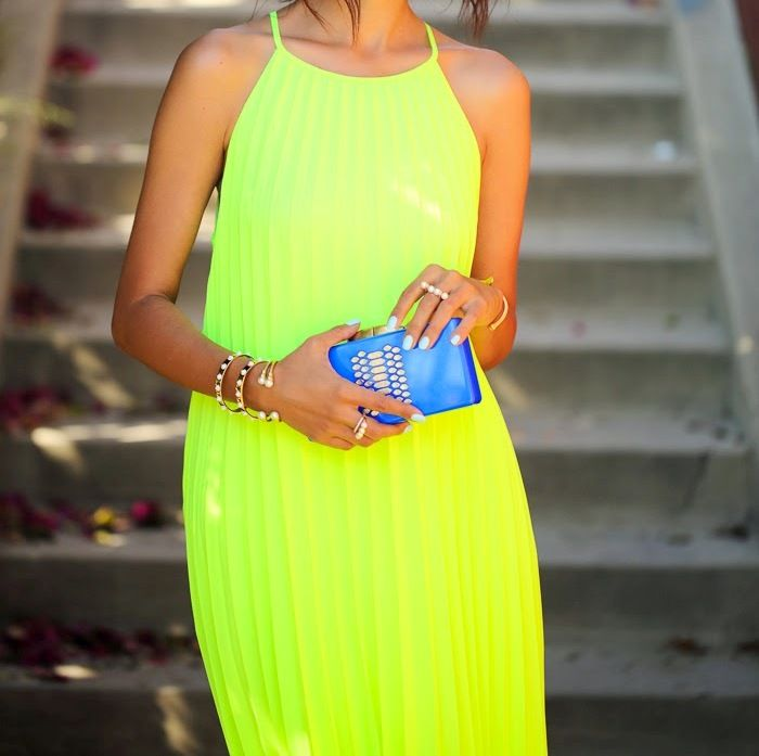 yellow dress neon long dress summer style blue clutch woman chic outfit