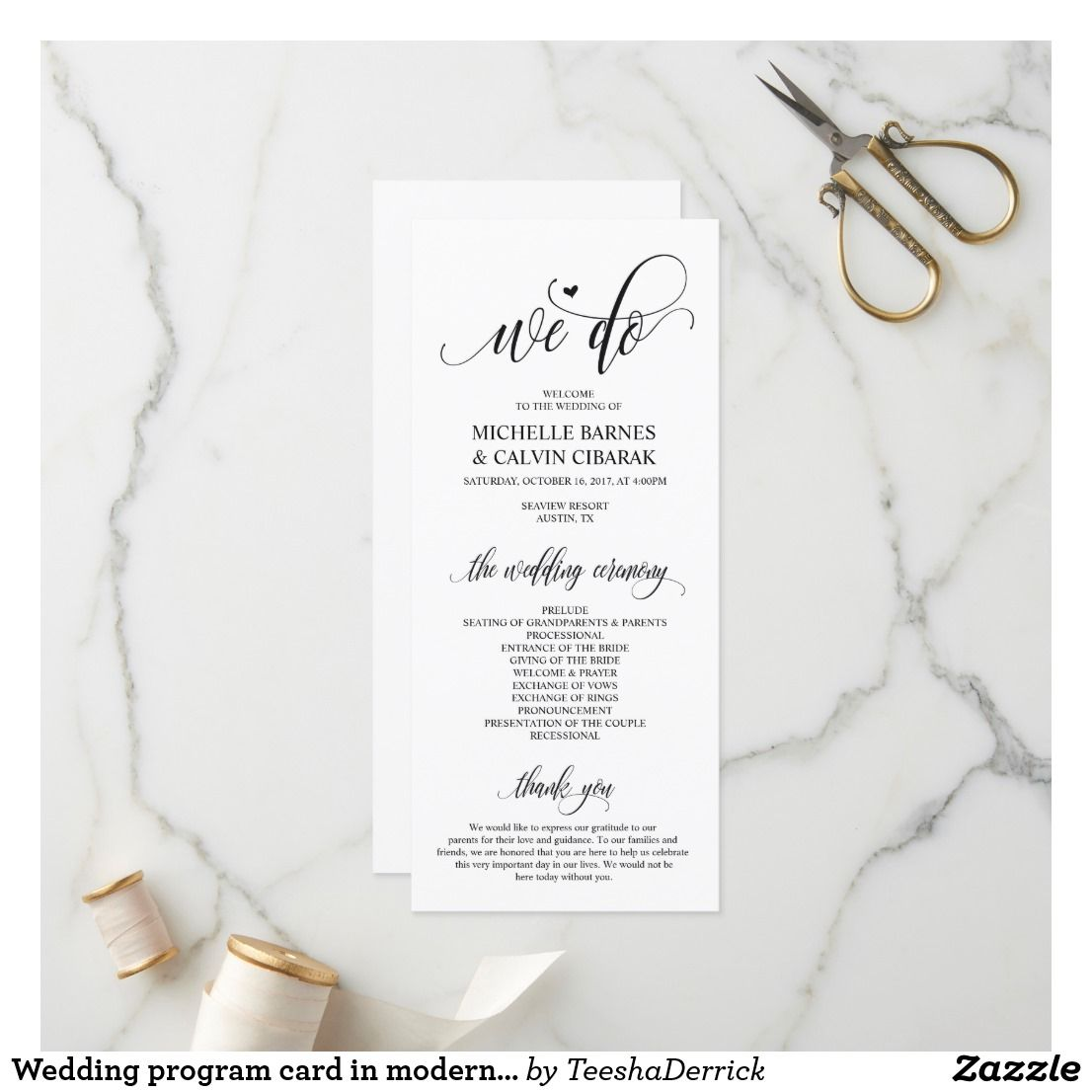 Wedding Program Card In Modern Design V3 Zazzle Com Wedding Programs Wedding Party Cards Order Of Wedding Ceremony