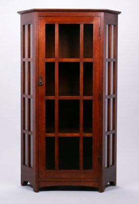Extremely Rare L&JG Stickley Corner Cabinet : Lot 231 | Stickley ...
