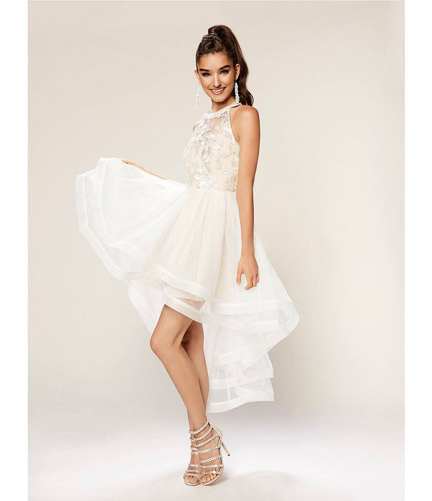7b3a51893 Xtraordinary Embroidered-Bodice Horsehair High-Low Hem Dress ...