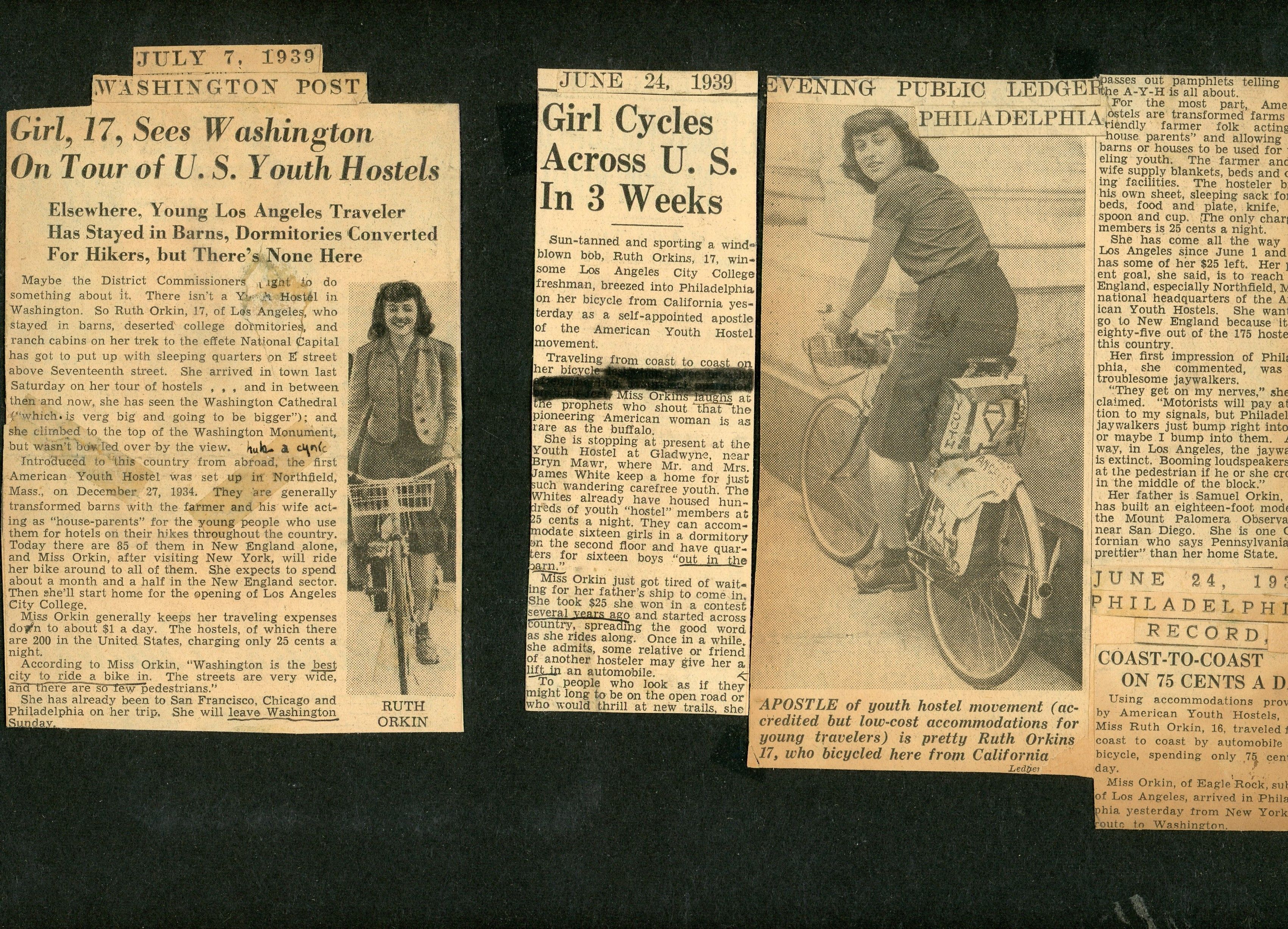 Ruth Orkin rides a bike... from L.A. to NYC to see the 1939