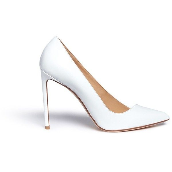 Francesco Russo Asymmetric patent leather pumps (990 CAD) ❤ liked on Polyvore featuring shoes, pumps, white, high heel stilettos, patent leather shoes, white stilettos, pointy toe stiletto pumps and white pointed-toe pumps