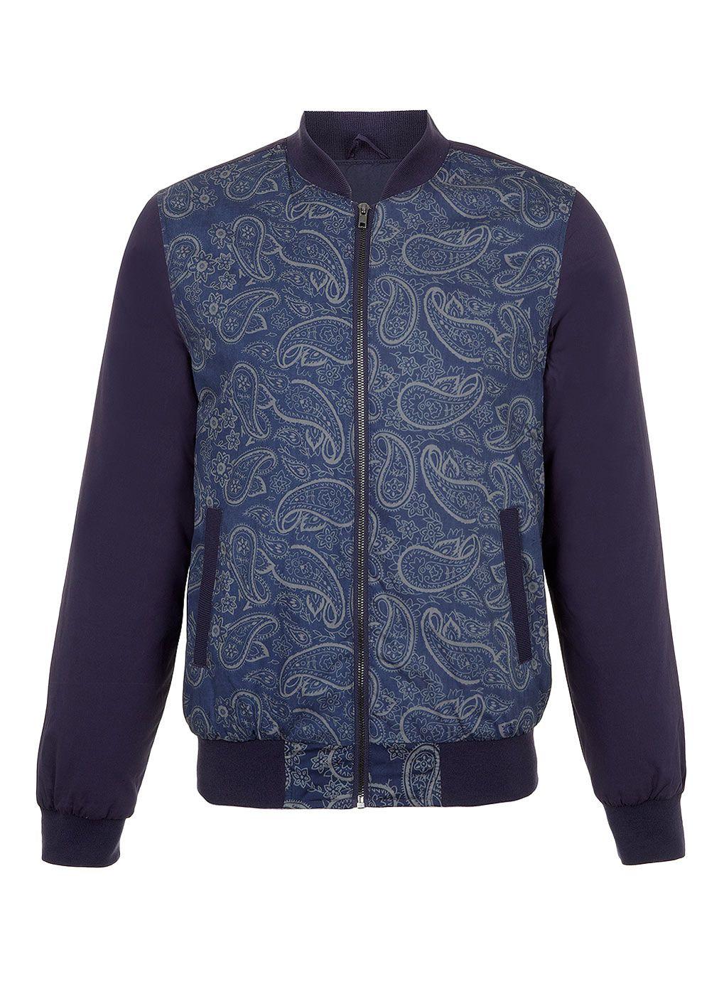 Navy Paisley Bomber Jacket Casual Jackets Men S Coats Jackets Clothing Topman Topman Mens Accessories Fashion Bomber Jacket [ 1384 x 1019 Pixel ]