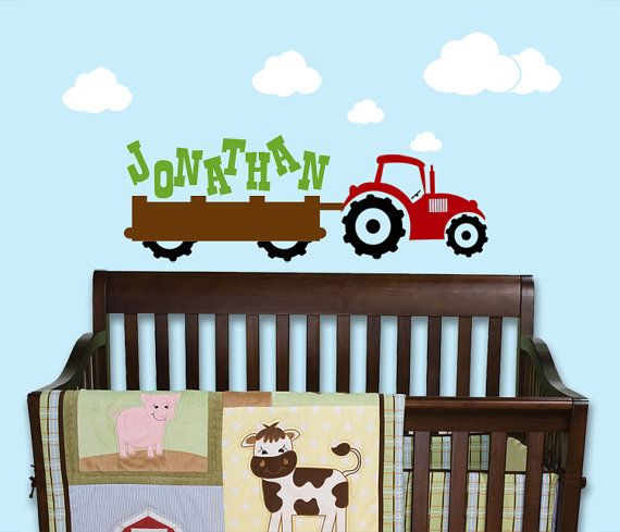 Tractor Name Wall Decal Nursery Farm Vinyl By Toodlesdecalstudio 38 50 Nursery Wall Decals Kids Wall Decals Childrens Vinyl