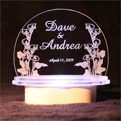 Etched Glass Wedding Cake Topper