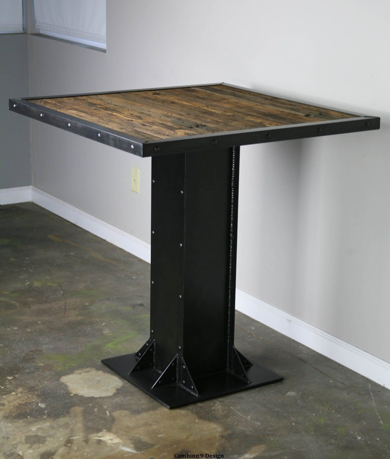 Reclaimed Wood Bistro Table Modern Industrial Style Dining Etsy
