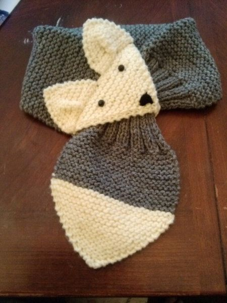 Adjustable Fox Scarf Gray Hand Knit Neck Warmer For Kids Or Adult