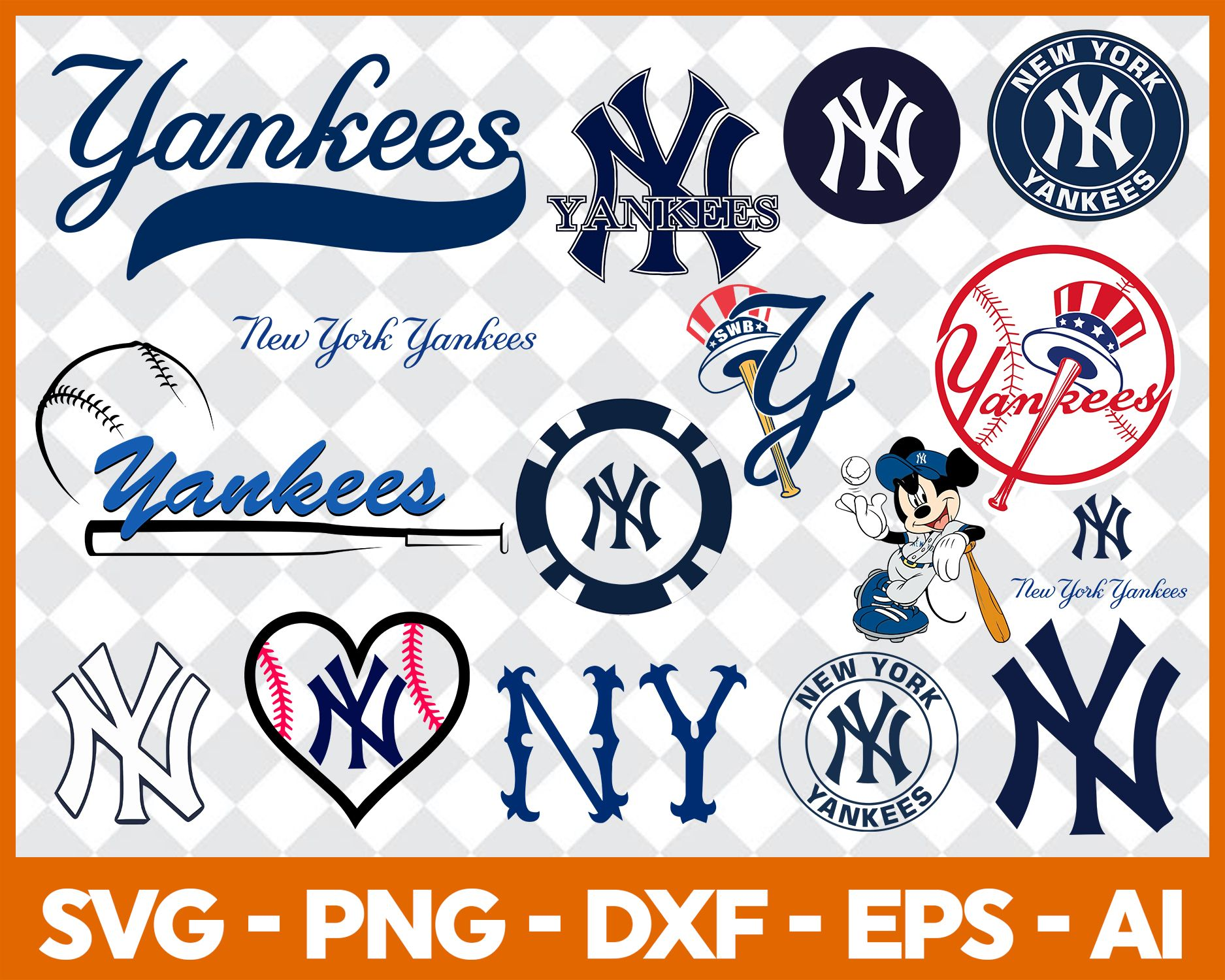 New York Yankees Svg Svg Files For Silhouette Files For Cricut Svg Dxf Eps Png Instant Download In 2020 New York Yankees Svg New York Yankees Logo