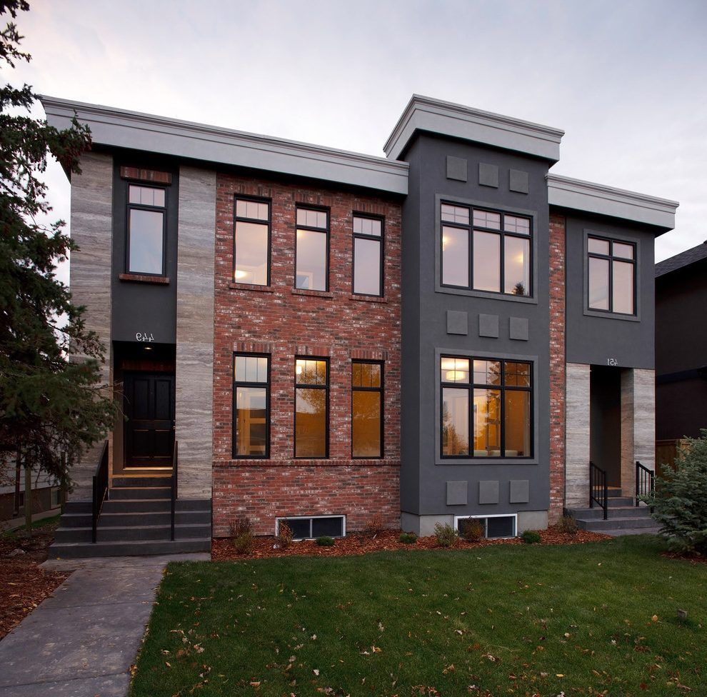 Modern House Red Roof: Red Brick Grey Roof Exterior Contemporary With Flat Roof
