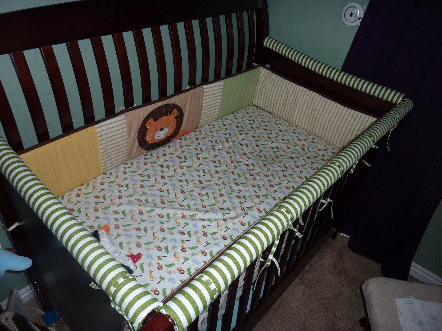 theme baby secure pads s pin crib new carter for monkey cribs pad bumper