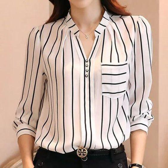 Bayanlar Icin Yazlik Sifon Gomlek Modelleri Beyaz Uzun Kollu V Yakali Dugmeli Cizgi Desenli Sifon Bluzlar Gomlek Elbise Bluz