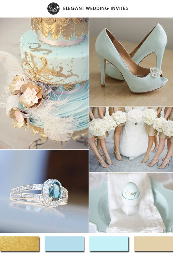 light blue and gold wedding color ideas for 2015 spring summer weddings #weddingcolors #goldwedding #elegantweddinginvites