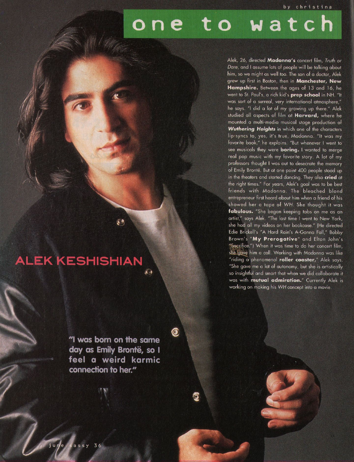"Sassy, June 1991 - ""One to Watch: Alek Kesheshian"""