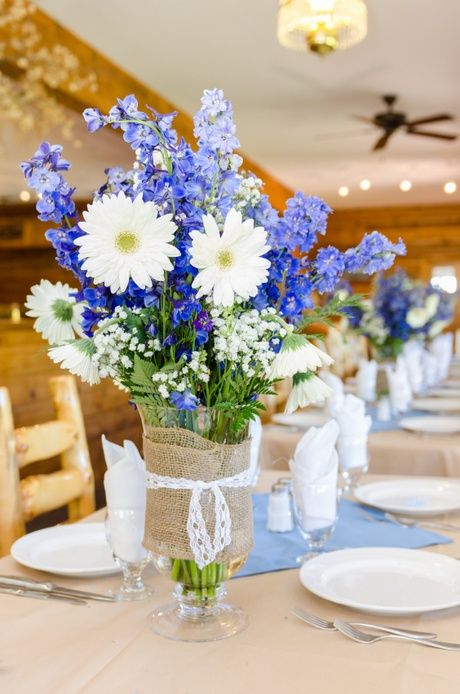 Beautiful blue centerpiece rustic wedding table