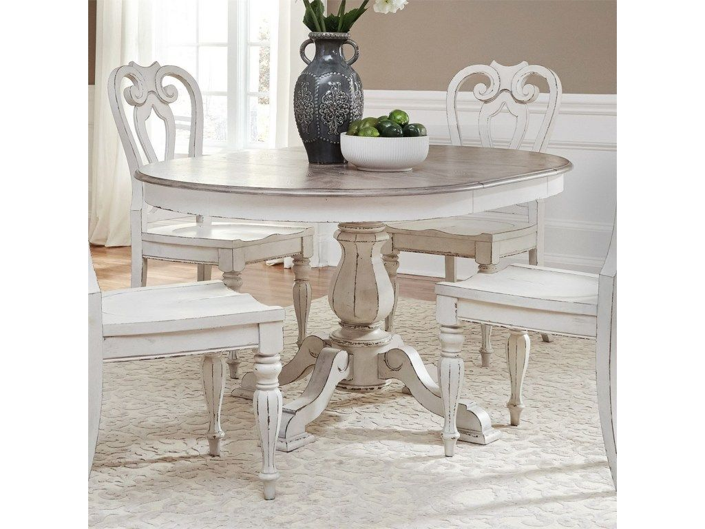 Magnolia Manor Dining Pedestal Table With Leaf By Liberty